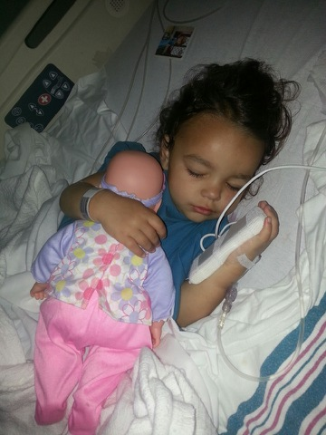 My great-granddaughter Grace following surgery