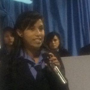 Elizabet speaking for the senior class