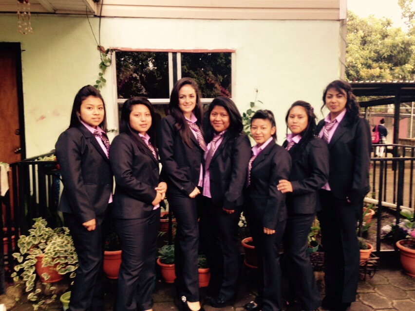 Senior girls preparing for first day of internship