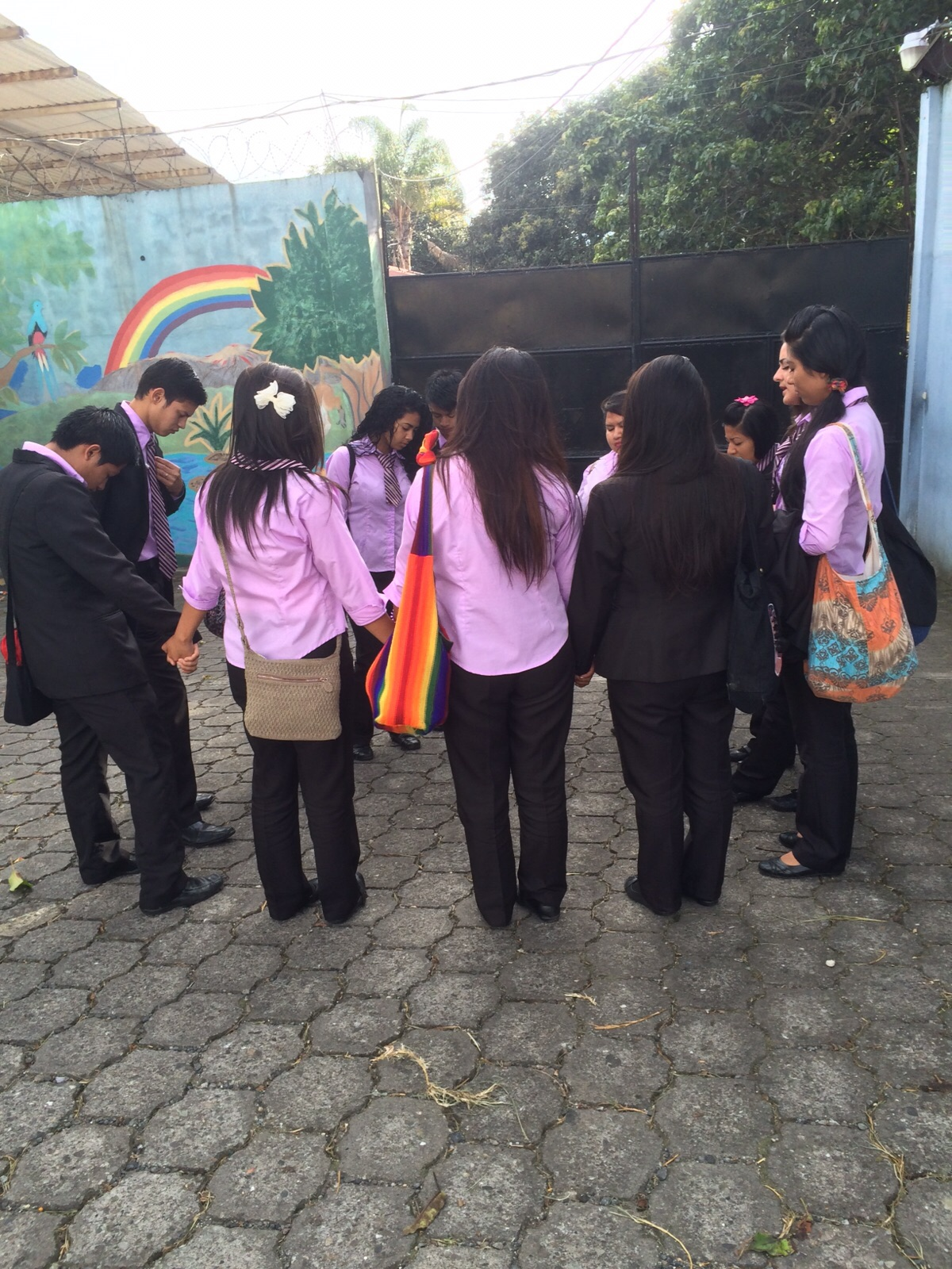 The seniors praying before going to work