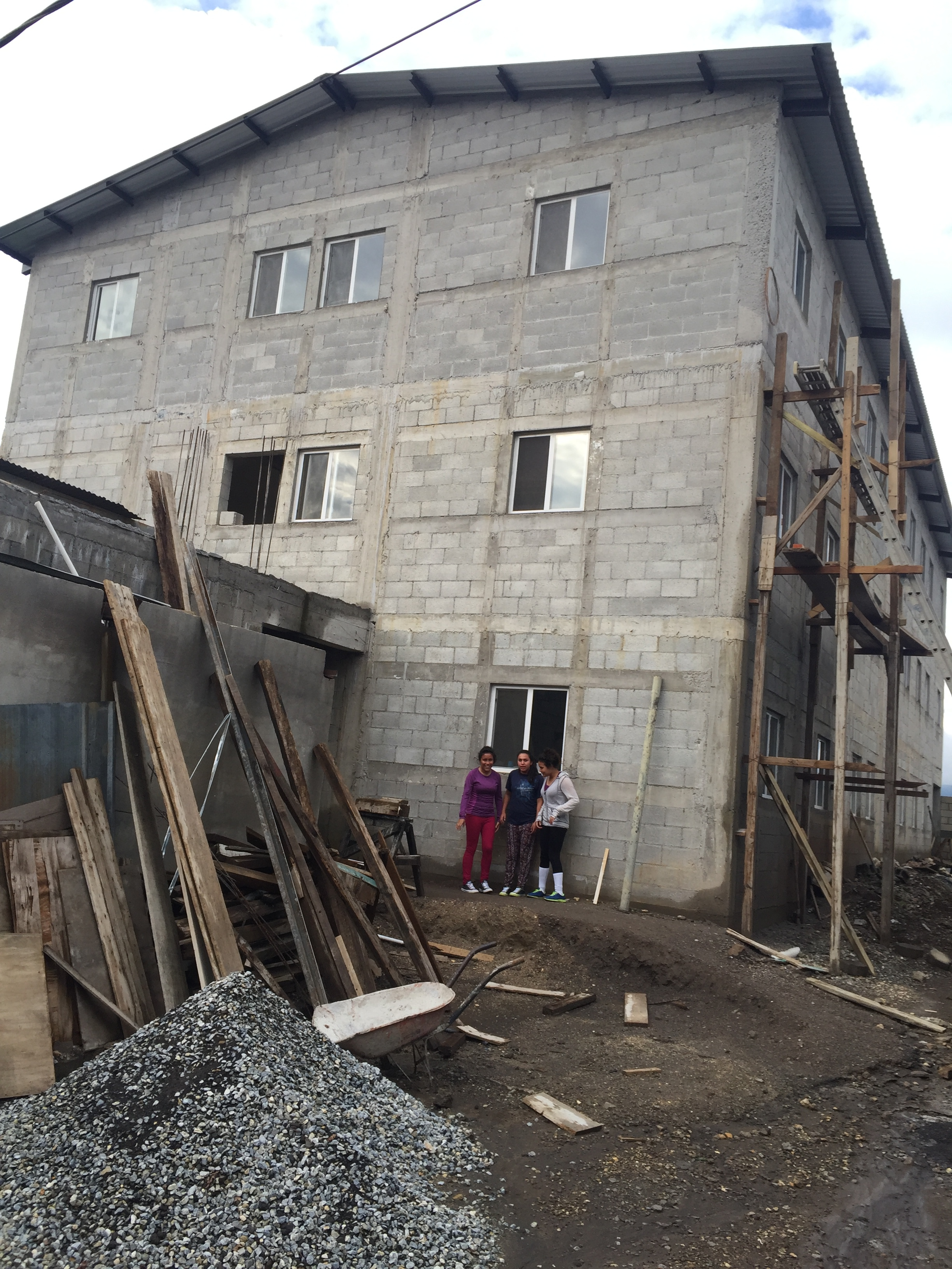 We are preparing the building for painting. It is huge.