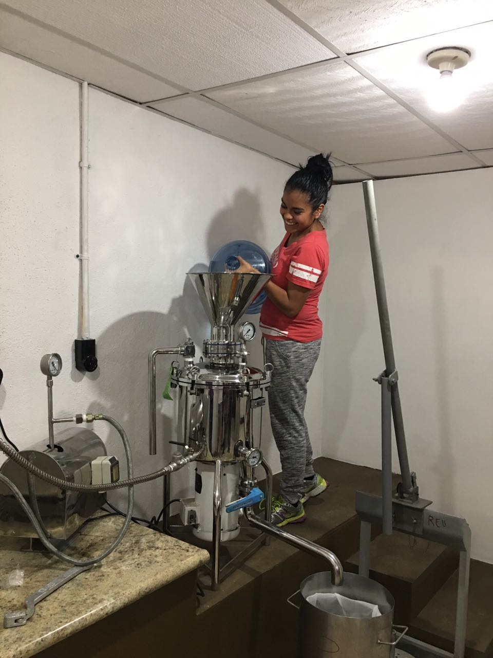 mixing the soy beans