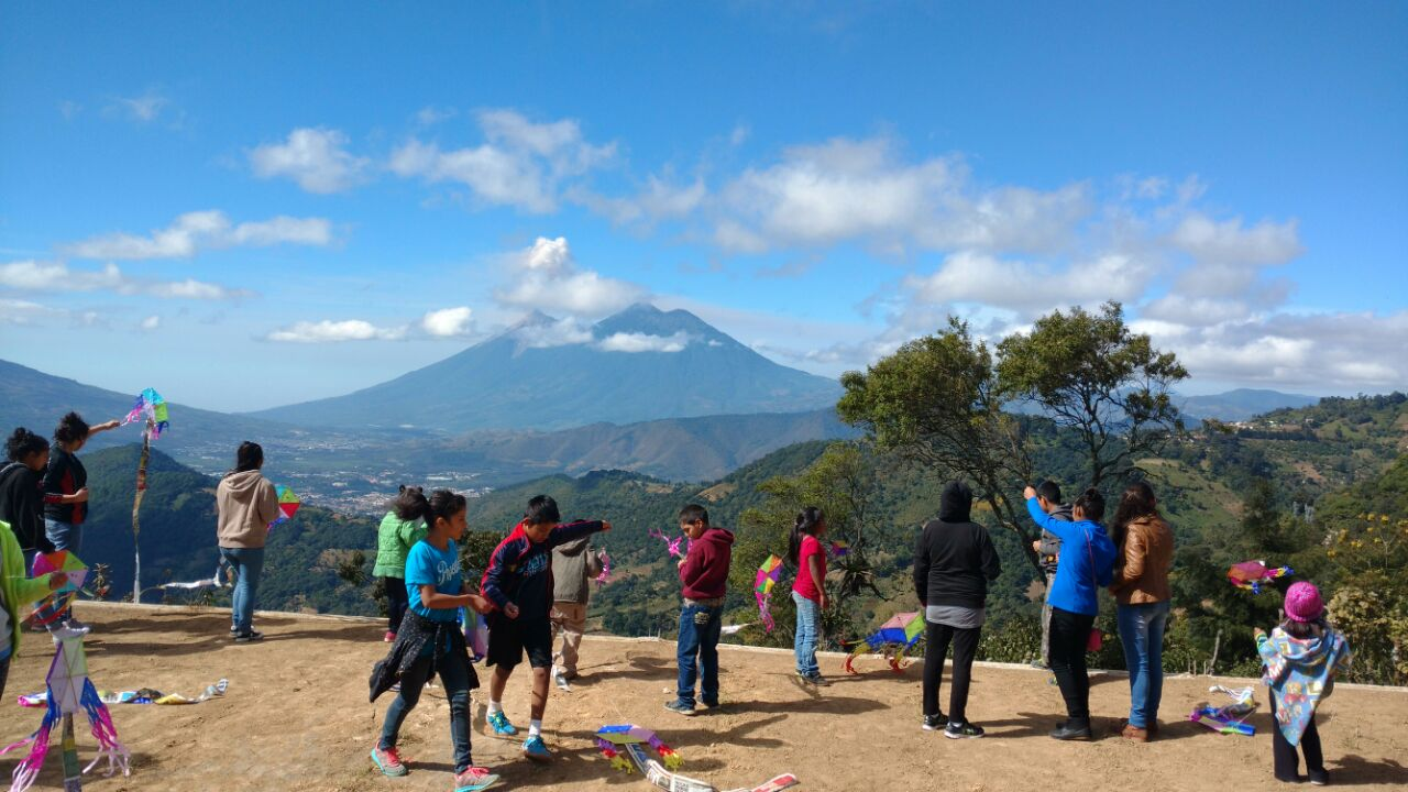 Our children at the volcano near us. They won this trip.