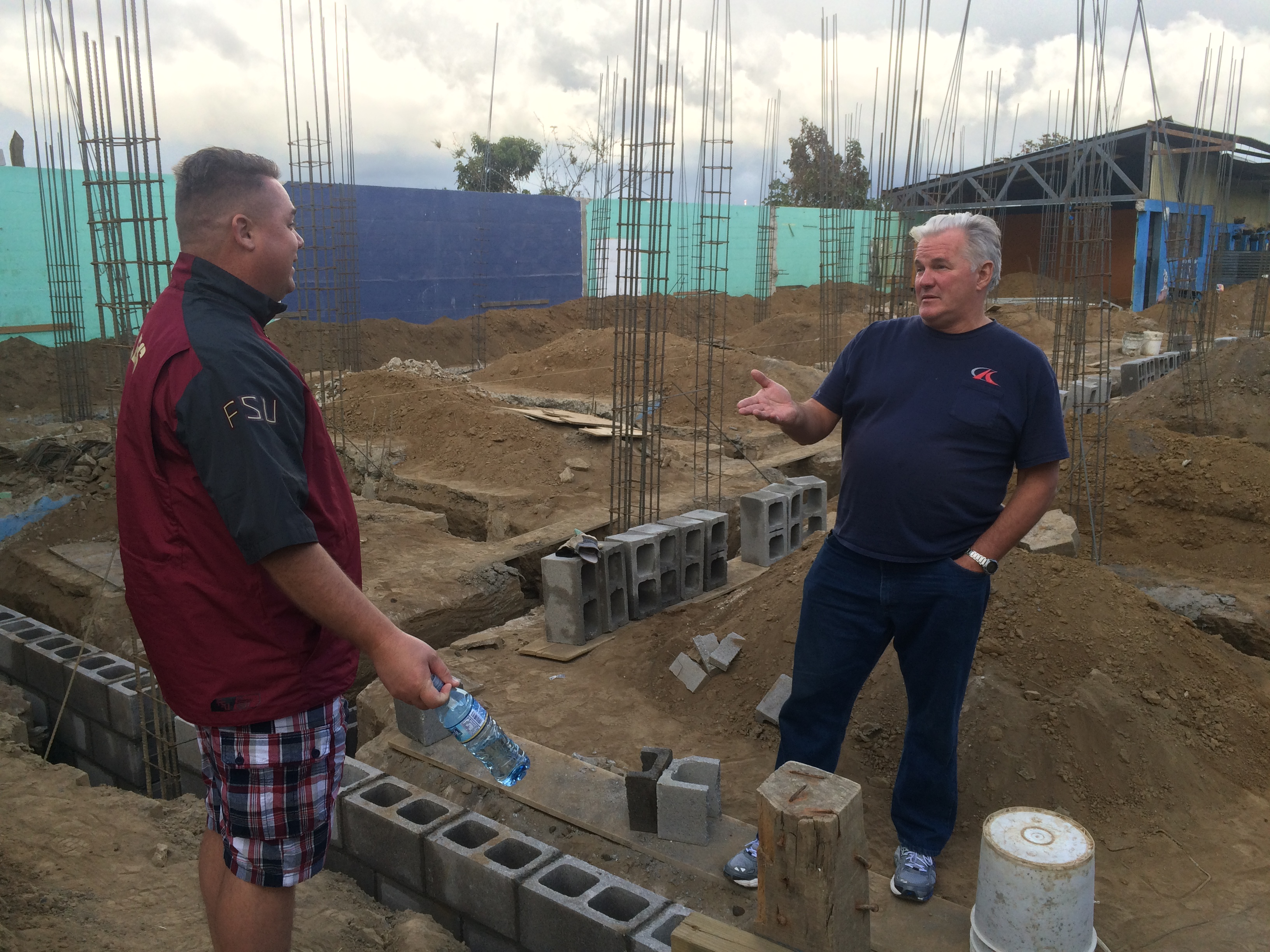 Tim & Steve discussing the hospital construction.